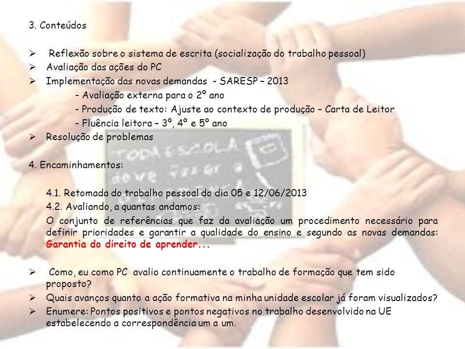 3. Conteúdos Reflexão sobre o sistema de escrita (socialização do trabalho pessoal) Avaliação das ações do PC Implementação das novas demandas - SARES