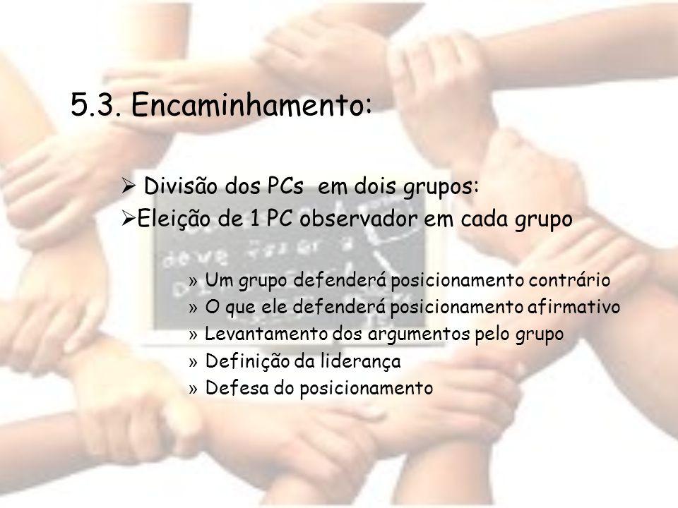 5.3. Encaminhamento: Divisão dos PCs em dois grupos: Eleição de 1 PC observador em cada grupo » Um grupo defenderá posicionamento contrário » O que el