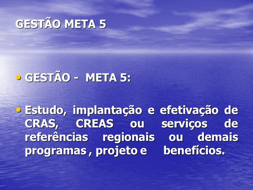 GESTÃO META 5 GESTÃO - META 5: GESTÃO - META 5: Estudo, implantação e efetivação de CRAS, CREAS ou serviços de referências regionais ou demais program