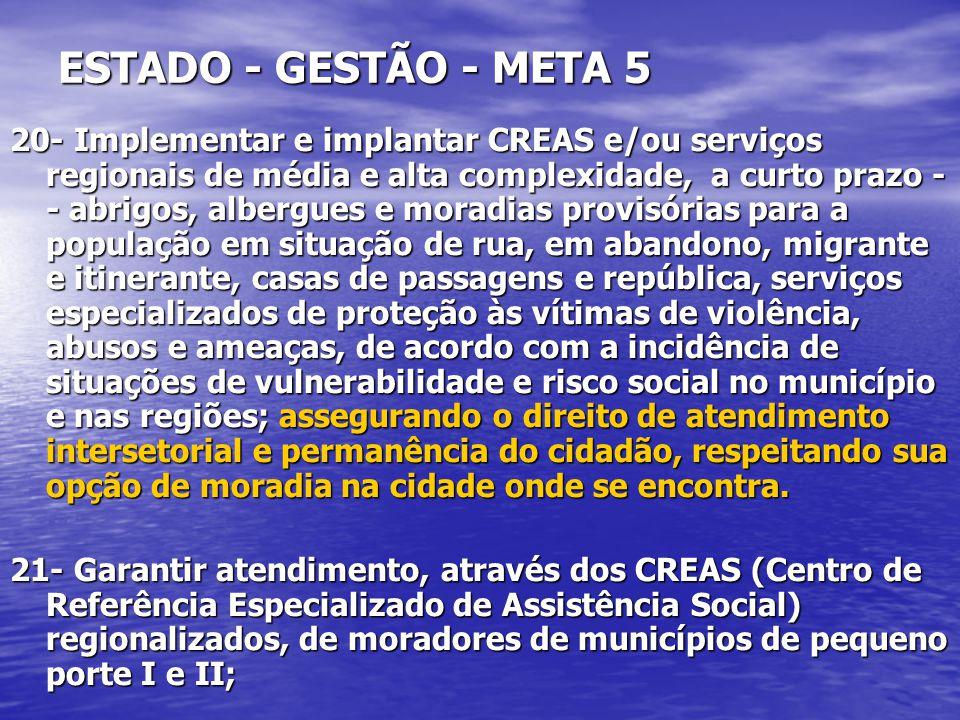 ESTADO - GESTÃO - META 5 20- Implementar e implantar CREAS e/ou serviços regionais de média e alta complexidade, a curto prazo - - abrigos, albergues