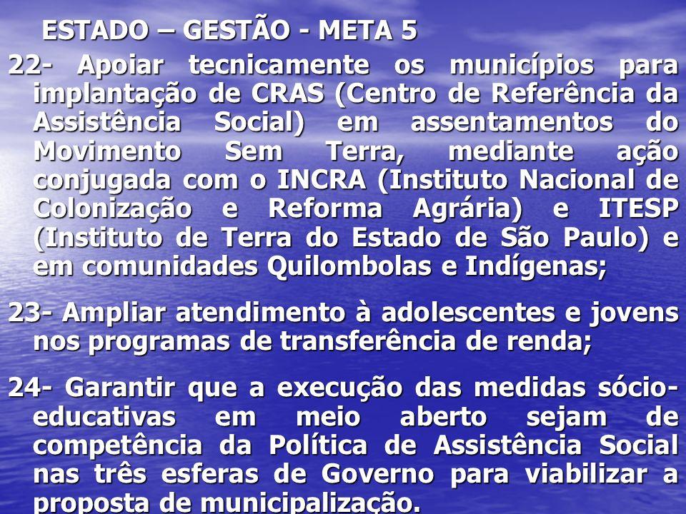 ESTADO – GESTÃO - META 5 22- Apoiar tecnicamente os municípios para implantação de CRAS (Centro de Referência da Assistência Social) em assentamentos