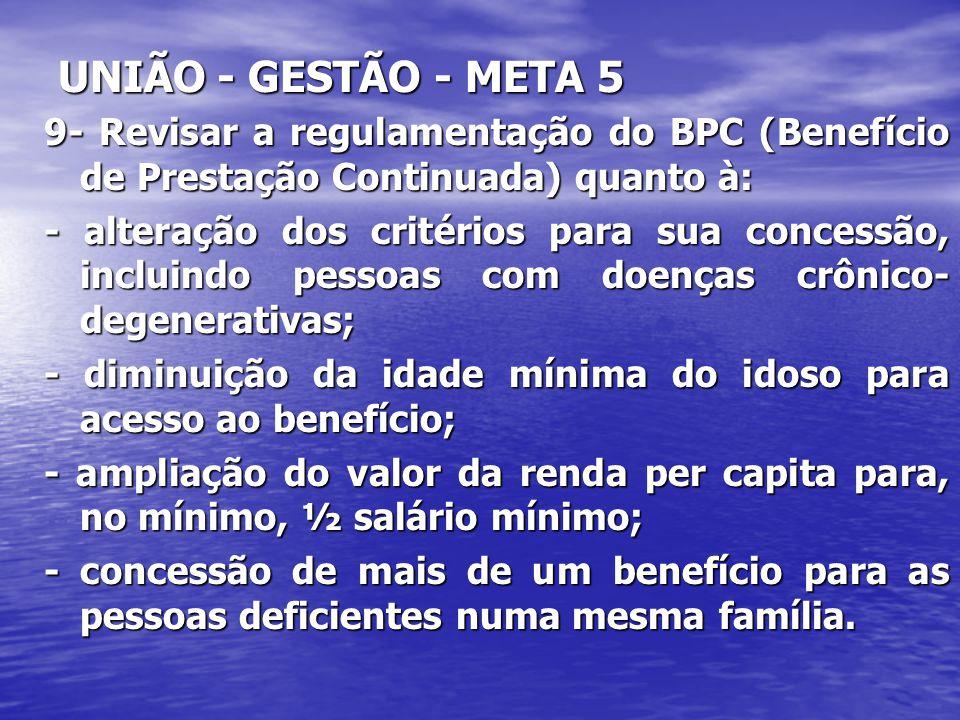 UNIÃO - GESTÃO - META 5 9- Revisar a regulamentação do BPC (Benefício de Prestação Continuada) quanto à: - alteração dos critérios para sua concessão,