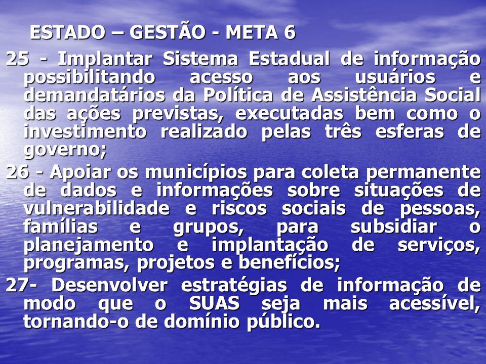 ESTADO – GESTÃO - META 6 25 - Implantar Sistema Estadual de informação possibilitando acesso aos usuários e demandatários da Política de Assistência S