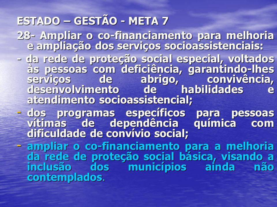 ESTADO – GESTÃO - META 7 28- Ampliar o co-financiamento para melhoria e ampliação dos serviços socioassistenciais: - da rede de proteção social especi