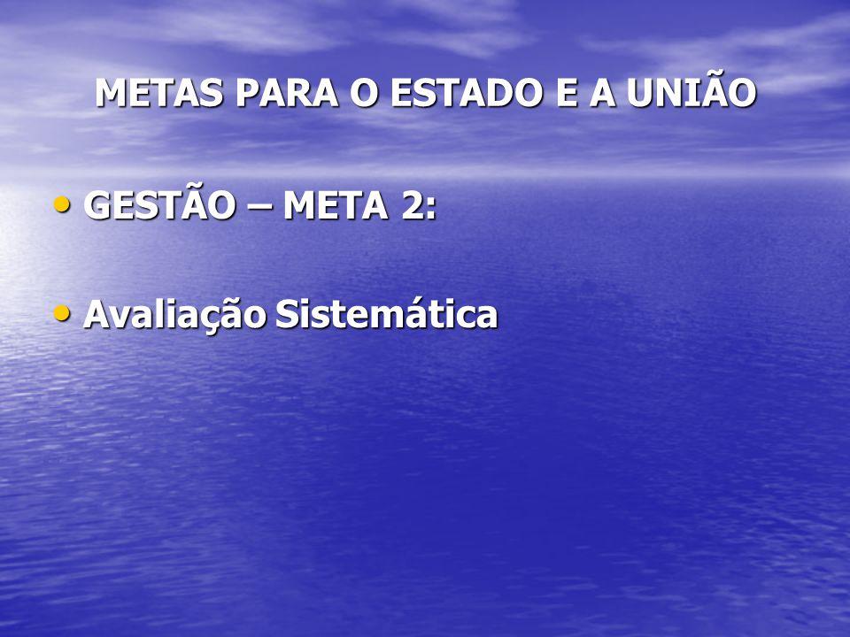 UNIÃO – GESTÃO - META 2 4 - Implementar o sistema de monitoramento e avaliação da execução da Política Nacional de Assistência Social; 5 - Avaliar sistematicamente a gestão do SUAS no Estado e nos municípios.
