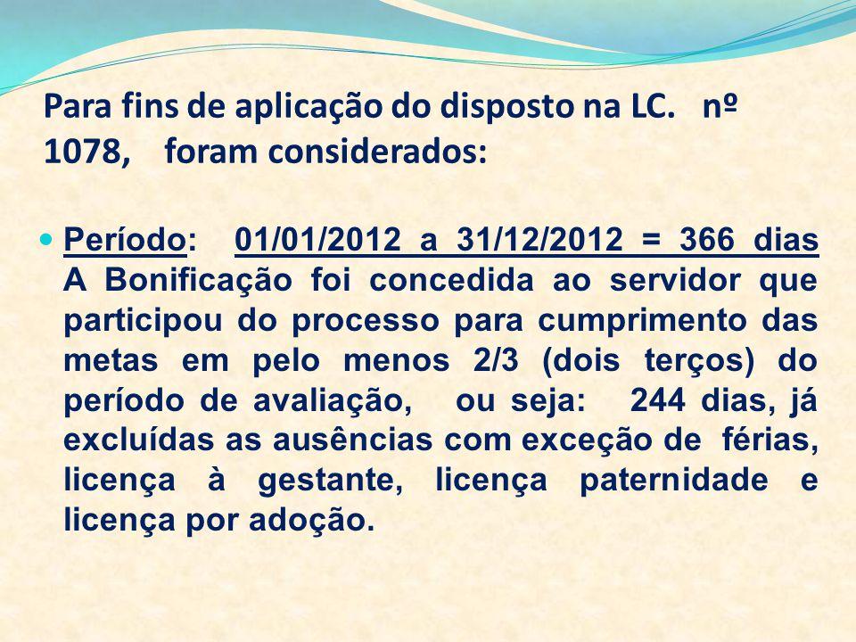 Para fins de aplicação do disposto na LC. nº 1078, foram considerados: Período: 01/01/2012 a 31/12/2012 = 366 dias A Bonificação foi concedida ao serv