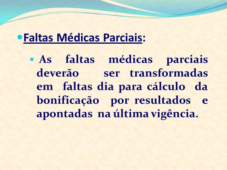 As faltas médicas parciais deverão ser transformadas em faltas dia para cálculo da bonificação por resultados e apontadas na última vigência. Faltas M