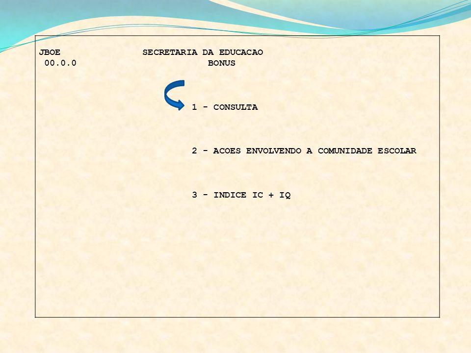 JBOE SECRETARIA DA EDUCACAO 00.0.0 BONUS 1 - CONSULTA 2 - ACOES ENVOLVENDO A COMUNIDADE ESCOLAR 3 - INDICE IC + IQ