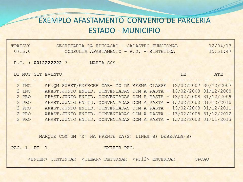 EXEMPLO AFASTAMENTO CONVENIO DE PARCERIA ESTADO - MUNICIPIO TPAESV0 SECRETARIA DA EDUCACAO - CADASTRO FUNCIONAL 12/04/13 07.5.0 CONSULTA AFASTAMENTO -