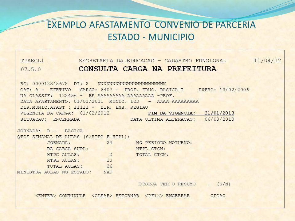 EXEMPLO AFASTAMENTO CONVENIO DE PARCERIA ESTADO - MUNICIPIO TPAECL1 SECRETARIA DA EDUCACAO - CADASTRO FUNCIONAL 10/04/12 07.5.0 CONSULTA CARGA NA PREF