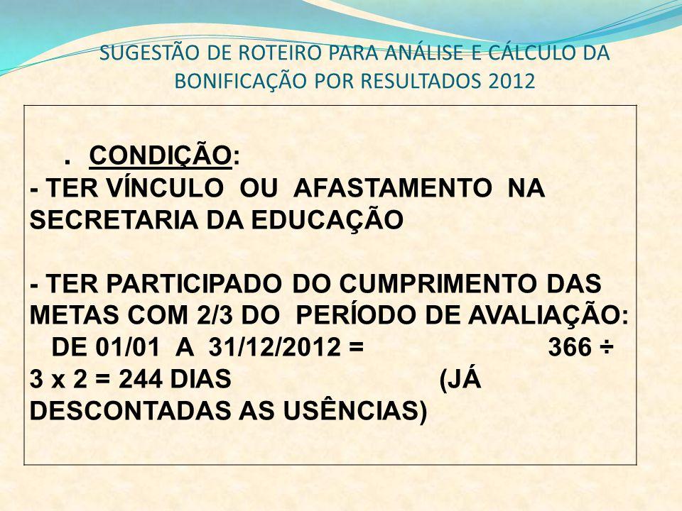 SUGESTÃO DE ROTEIRO PARA ANÁLISE E CÁLCULO DA BONIFICAÇÃO POR RESULTADOS 2012. CONDIÇÃO: - TER VÍNCULO OU AFASTAMENTO NA SECRETARIA DA EDUCAÇÃO - TER