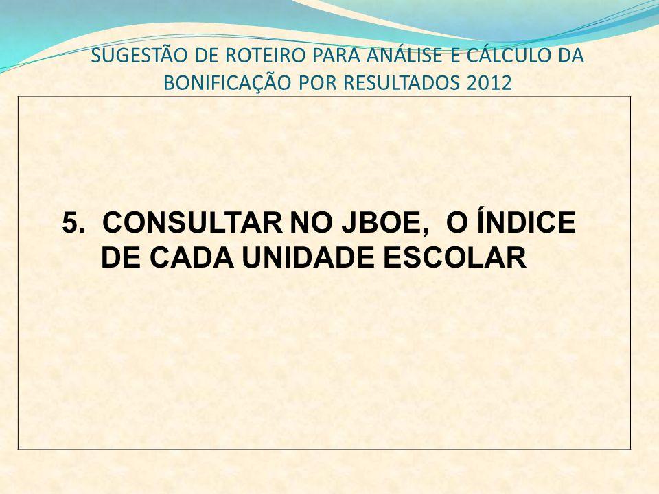 SUGESTÃO DE ROTEIRO PARA ANÁLISE E CÁLCULO DA BONIFICAÇÃO POR RESULTADOS 2012 5. CONSULTAR NO JBOE, O ÍNDICE DE CADA UNIDADE ESCOLAR