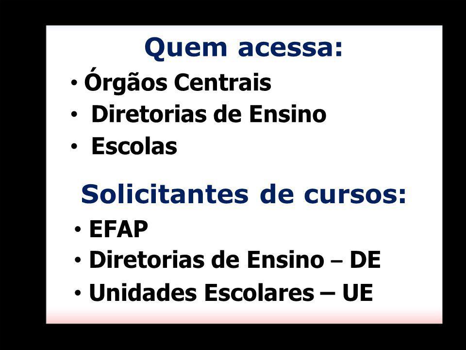 Quem acessa: Órgãos Centrais Diretorias de Ensino Escolas Solicitantes de cursos: EFAP Diretorias de Ensino – DE Unidades Escolares – UE
