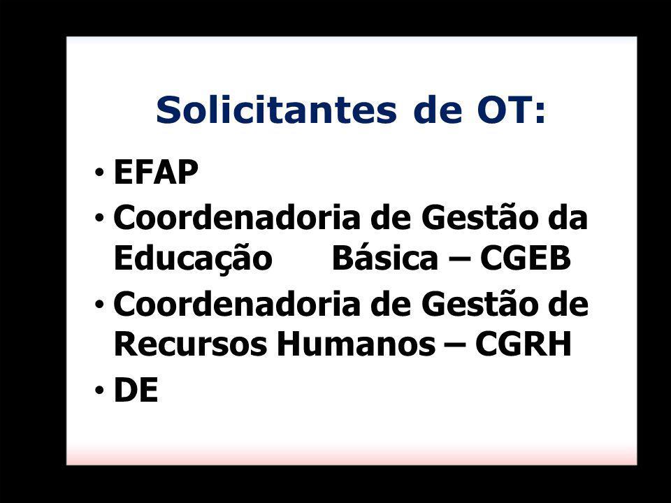 EFAP Coordenadoria de Gestão da Educação Básica – CGEB Coordenadoria de Gestão de Recursos Humanos – CGRH DE Solicitantes de OT: