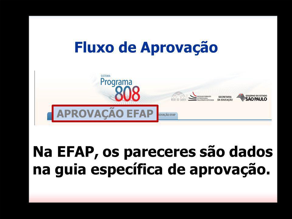 Na EFAP, os pareceres são dados na guia específica de aprovação. Fluxo de Aprovação APROVAÇÃO EFAP