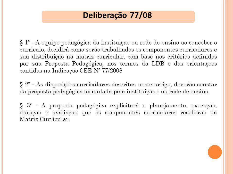OBSERVAÇÕES QUE DEVERÃO CONSTAR NAS MATRIZES CURRICULARES DAS ESCOLAS PARTICULARES Ensino Médio O currículo do Ensino Médio contempla os componentes curriculares obrigatórios propostos pela legislação federal em vigor, considerando, para seu desenvolvimento, as orientações contidas na Indicação CEE 77/2008 que integra a Deliberação CEE 77/2008, explicitadas na proposta pedagógica da escola.