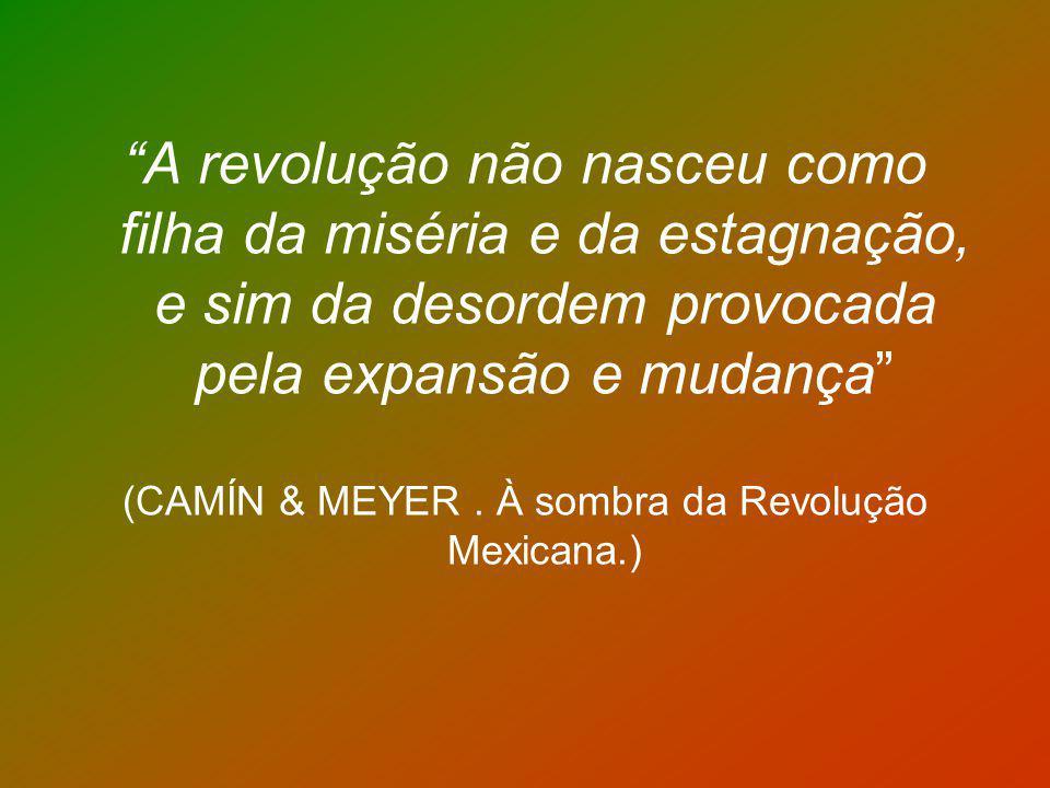 A revolução não nasceu como filha da miséria e da estagnação, e sim da desordem provocada pela expansão e mudança (CAMÍN & MEYER. À sombra da Revoluçã
