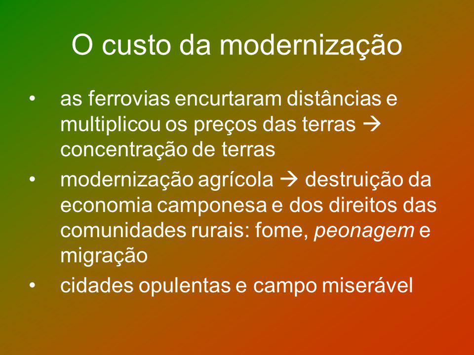 O custo da modernização as ferrovias encurtaram distâncias e multiplicou os preços das terras concentração de terras modernização agrícola destruição