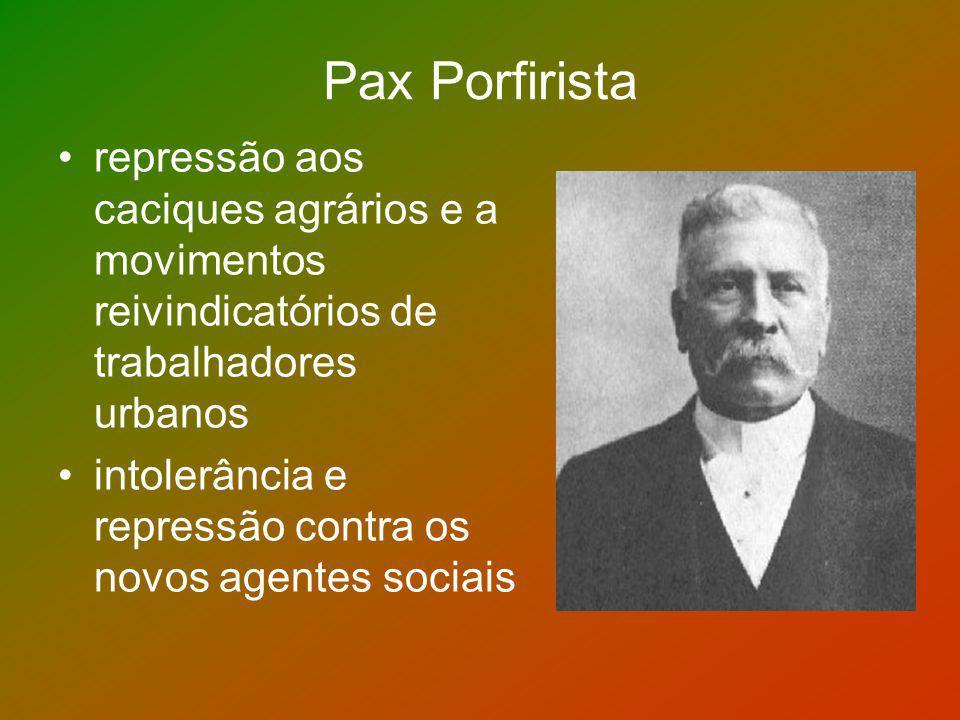 Pax Porfirista repressão aos caciques agrários e a movimentos reivindicatórios de trabalhadores urbanos intolerância e repressão contra os novos agent