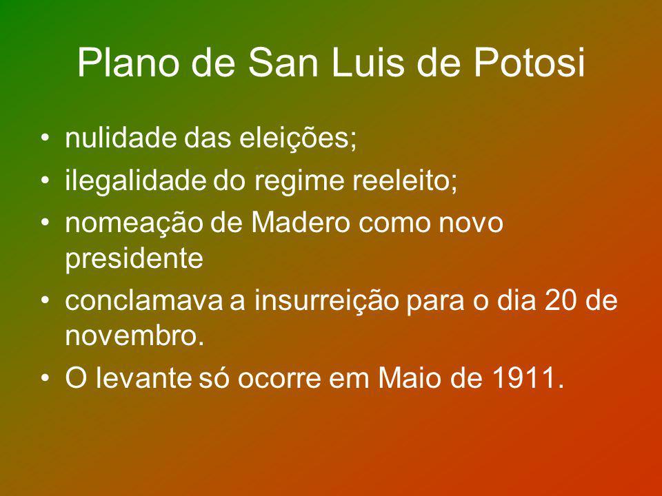 Plano de San Luis de Potosi nulidade das eleições; ilegalidade do regime reeleito; nomeação de Madero como novo presidente conclamava a insurreição pa