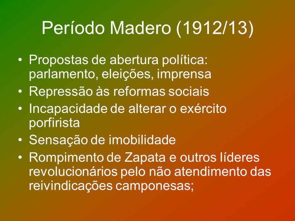 Período Madero (1912/13) Propostas de abertura política: parlamento, eleições, imprensa Repressão às reformas sociais Incapacidade de alterar o exérci
