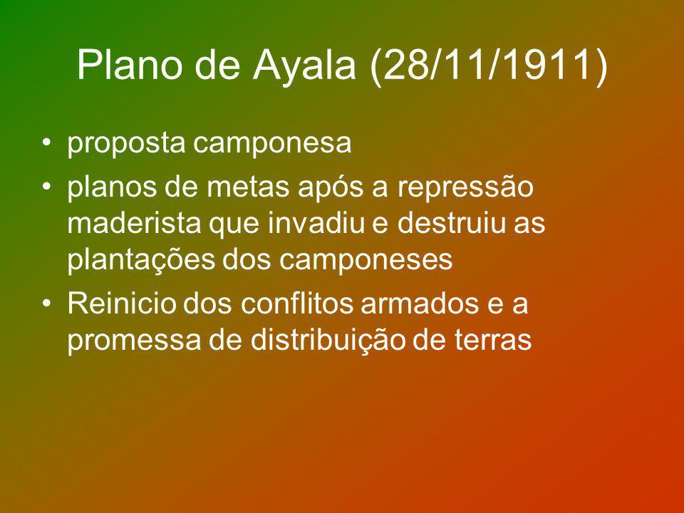 Plano de Ayala (28/11/1911) proposta camponesa planos de metas após a repressão maderista que invadiu e destruiu as plantações dos camponeses Reinicio