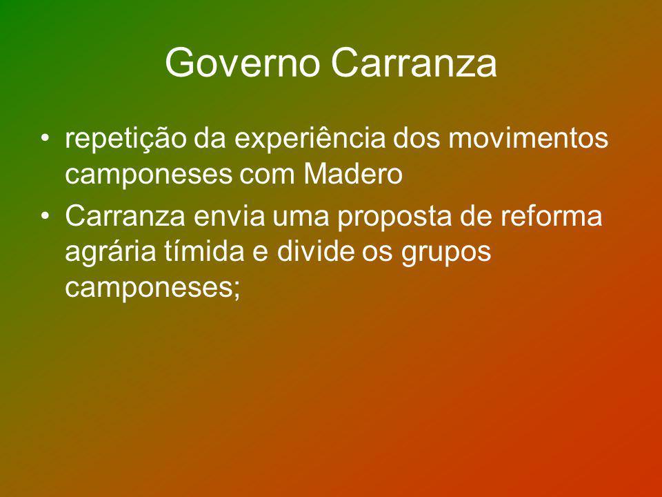 Governo Carranza repetição da experiência dos movimentos camponeses com Madero Carranza envia uma proposta de reforma agrária tímida e divide os grupo