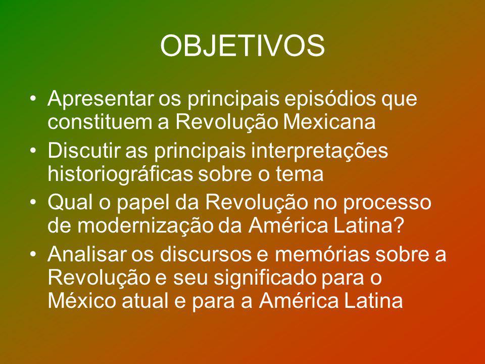 OBJETIVOS Apresentar os principais episódios que constituem a Revolução Mexicana Discutir as principais interpretações historiográficas sobre o tema Q