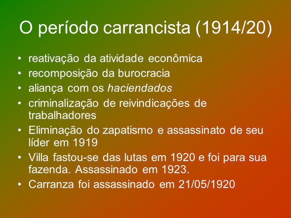O período carrancista (1914/20) reativação da atividade econômica recomposição da burocracia aliança com os haciendados criminalização de reivindicaçõ