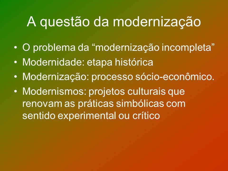 A questão da modernização O problema da modernização incompleta Modernidade: etapa histórica Modernização: processo sócio-econômico. Modernismos: proj