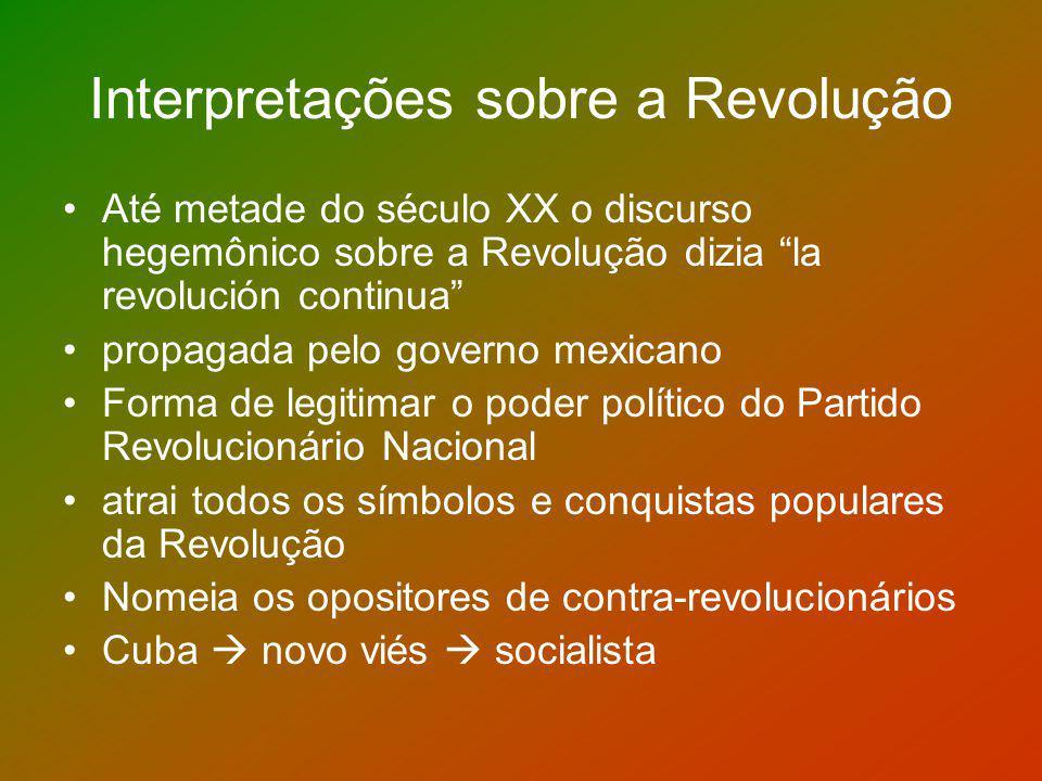 Interpretações sobre a Revolução Até metade do século XX o discurso hegemônico sobre a Revolução dizia la revolución continua propagada pelo governo m