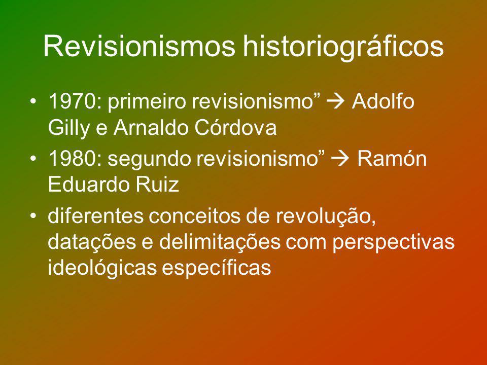 Revisionismos historiográficos 1970: primeiro revisionismo Adolfo Gilly e Arnaldo Córdova 1980: segundo revisionismo Ramón Eduardo Ruiz diferentes con