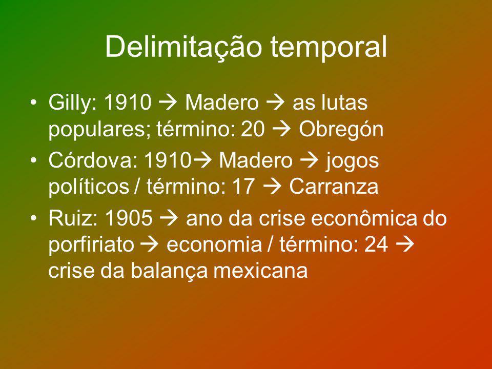 Delimitação temporal Gilly: 1910 Madero as lutas populares; término: 20 Obregón Córdova: 1910 Madero jogos políticos / término: 17 Carranza Ruiz: 1905