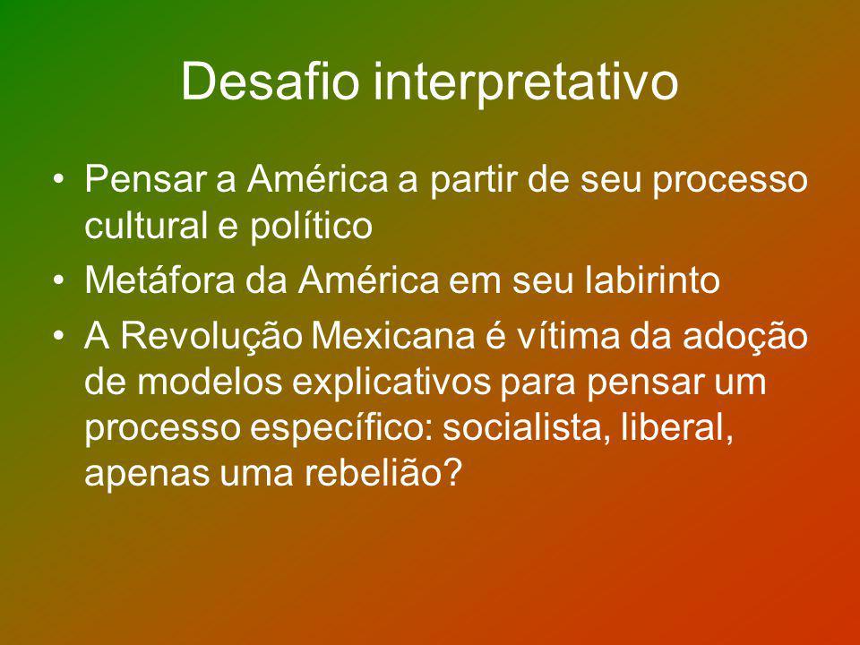 1910 centenário da Independência: o oficialismo das comemorações e a idéia de um país que cumprira o seu destino e que superou as desintegrações internas e catástrofes; candidatura de Madero à presidência que tinha apoio dos EUA por causa das medidas recentes de Porfírio Diaz.