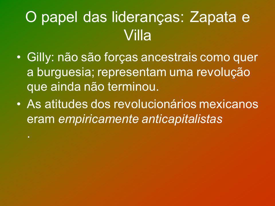 O papel das lideranças: Zapata e Villa Gilly: não são forças ancestrais como quer a burguesia; representam uma revolução que ainda não terminou. As at