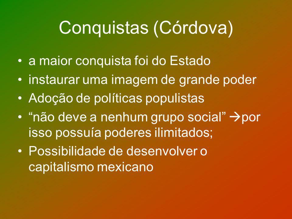 Conquistas (Córdova) a maior conquista foi do Estado instaurar uma imagem de grande poder Adoção de políticas populistas não deve a nenhum grupo socia