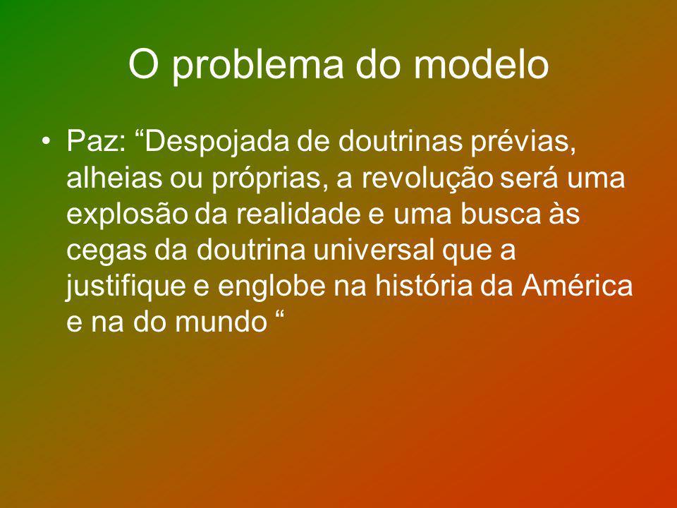 O problema do modelo Paz: Despojada de doutrinas prévias, alheias ou próprias, a revolução será uma explosão da realidade e uma busca às cegas da dout