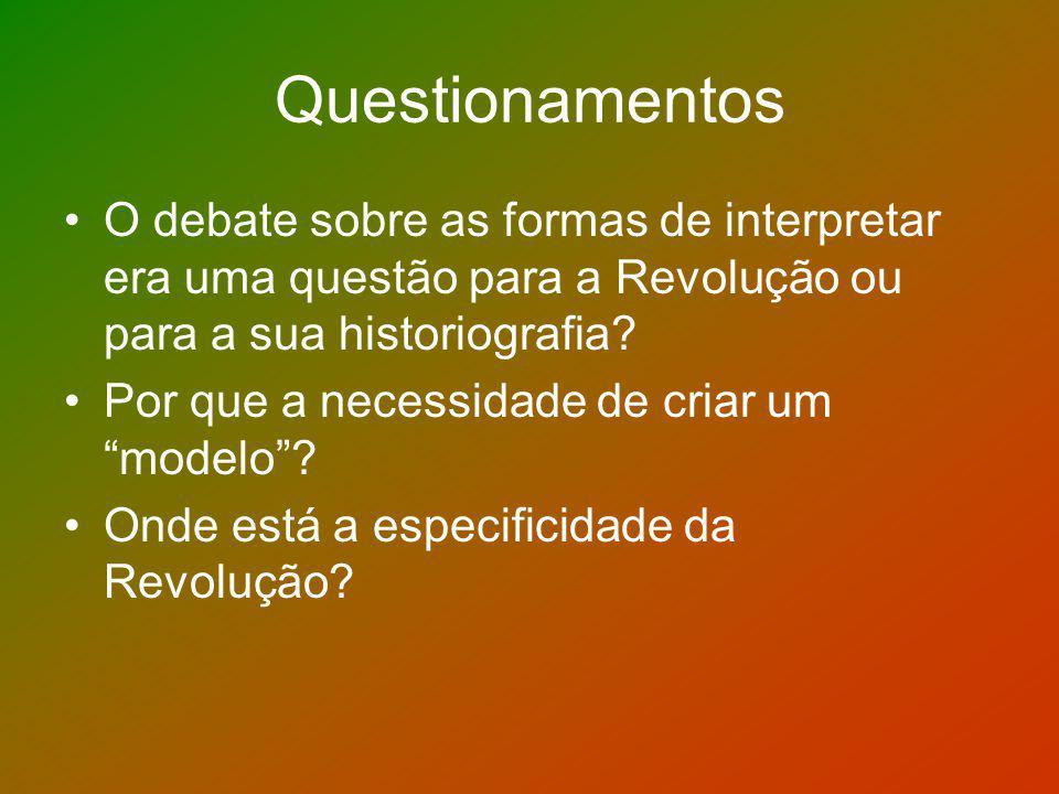 Questionamentos O debate sobre as formas de interpretar era uma questão para a Revolução ou para a sua historiografia? Por que a necessidade de criar