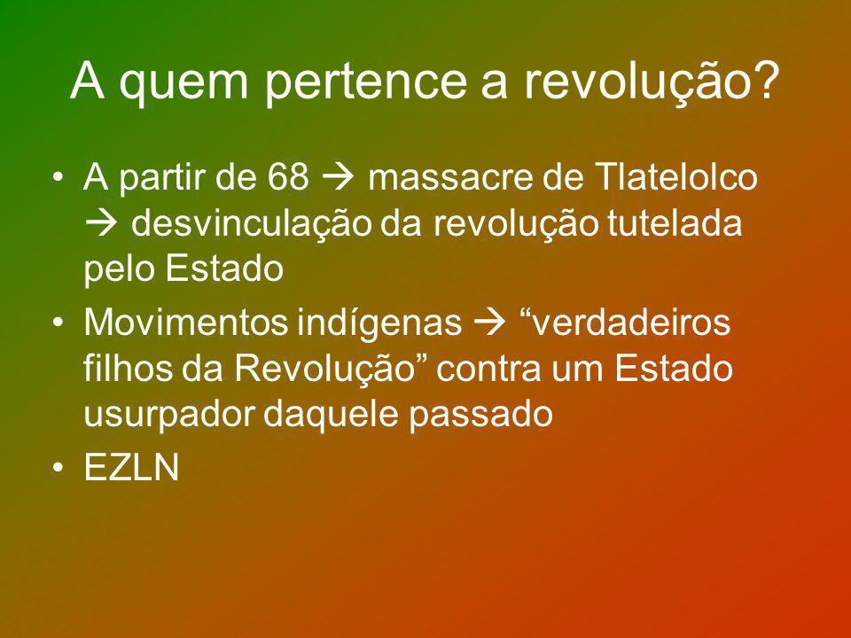 A quem pertence a revolução? A partir de 68 massacre de Tlatelolco desvinculação da revolução tutelada pelo Estado Movimentos indígenas verdadeiros fi