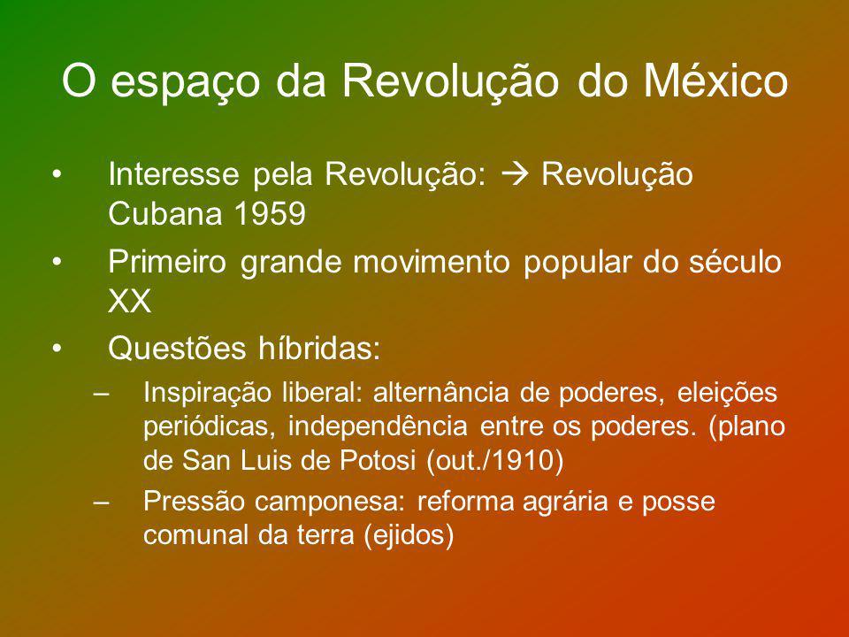 Antecedentes da Revolução Porfiriato (1876-1911) Porfírio Diaz assumiu o poder com uma plataforma liberal laicização do Estado e reformas políticas muita administração e pouca política Período de crescimento econômico e consolidação da fronteira norte Grandes investimentos externos na mineração
