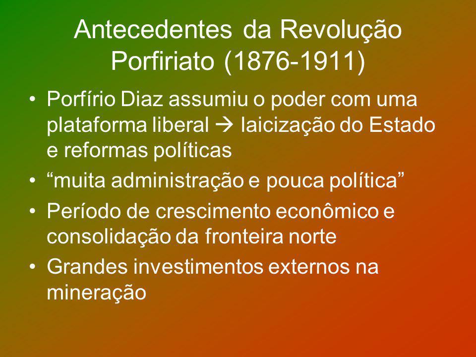 Antecedentes da Revolução Porfiriato (1876-1911) Porfírio Diaz assumiu o poder com uma plataforma liberal laicização do Estado e reformas políticas mu