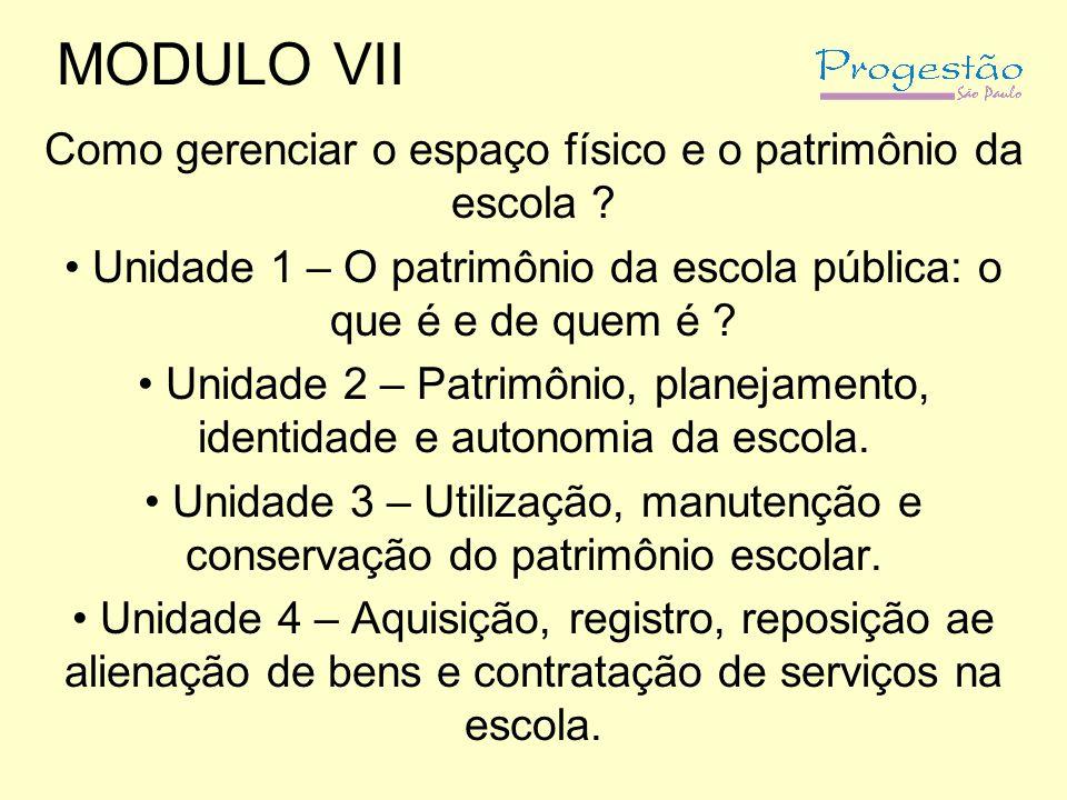 MODULO VII Como gerenciar o espaço físico e o patrimônio da escola .