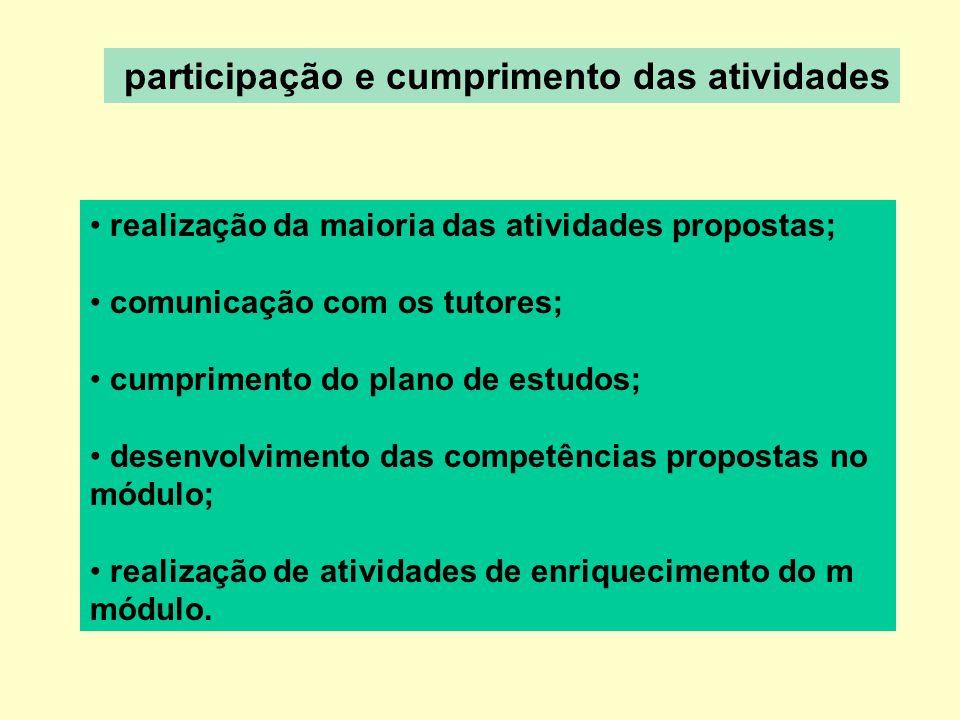 participação e cumprimento das atividades realização da maioria das atividades propostas; comunicação com os tutores; cumprimento do plano de estudos; desenvolvimento das competências propostas no módulo; realização de atividades de enriquecimento do m módulo.