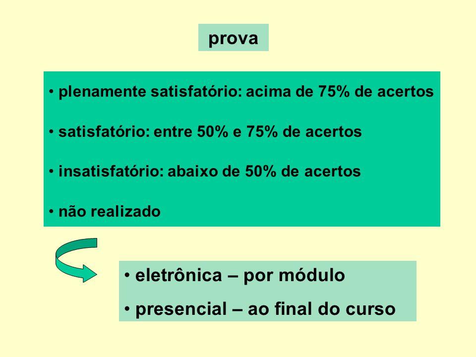 prova plenamente satisfatório: acima de 75% de acertos satisfatório: entre 50% e 75% de acertos insatisfatório: abaixo de 50% de acertos não realizado eletrônica – por módulo presencial – ao final do curso