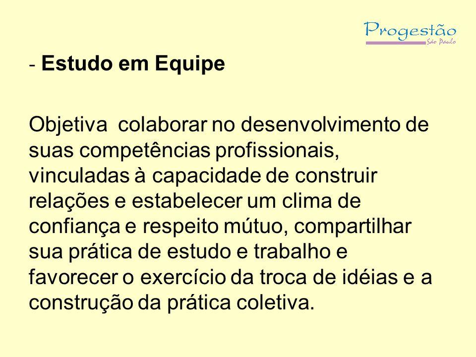 - Estudo em Equipe Objetiva colaborar no desenvolvimento de suas competências profissionais, vinculadas à capacidade de construir relações e estabelec