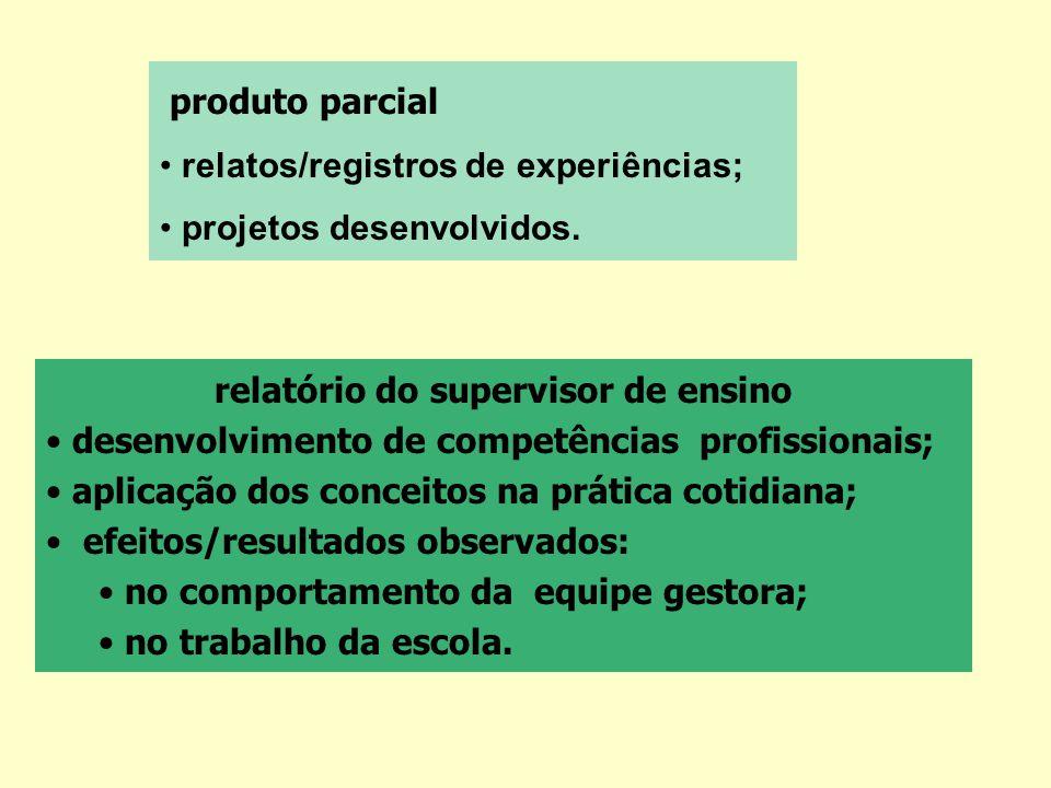 produto parcial relatos/registros de experiências; projetos desenvolvidos. relatório do supervisor de ensino desenvolvimento de competências profissio