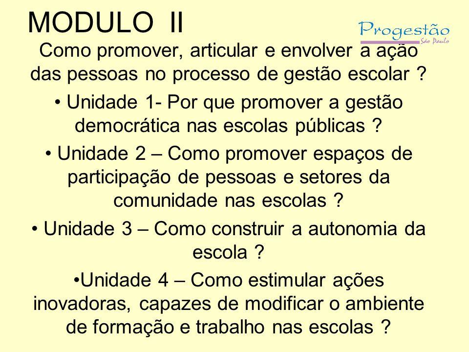MODULO II Como promover, articular e envolver a ação das pessoas no processo de gestão escolar ? Unidade 1- Por que promover a gestão democrática nas