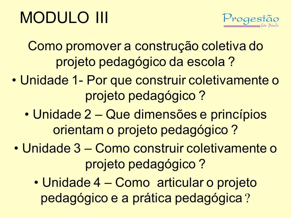 MODULO III Como promover a construção coletiva do projeto pedagógico da escola ? Unidade 1- Por que construir coletivamente o projeto pedagógico ? Uni