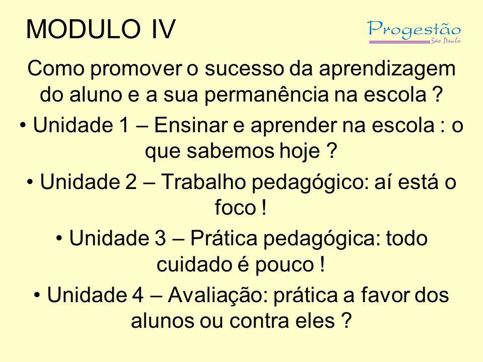MODULO IV Como promover o sucesso da aprendizagem do aluno e a sua permanência na escola ? Unidade 1 – Ensinar e aprender na escola : o que sabemos ho