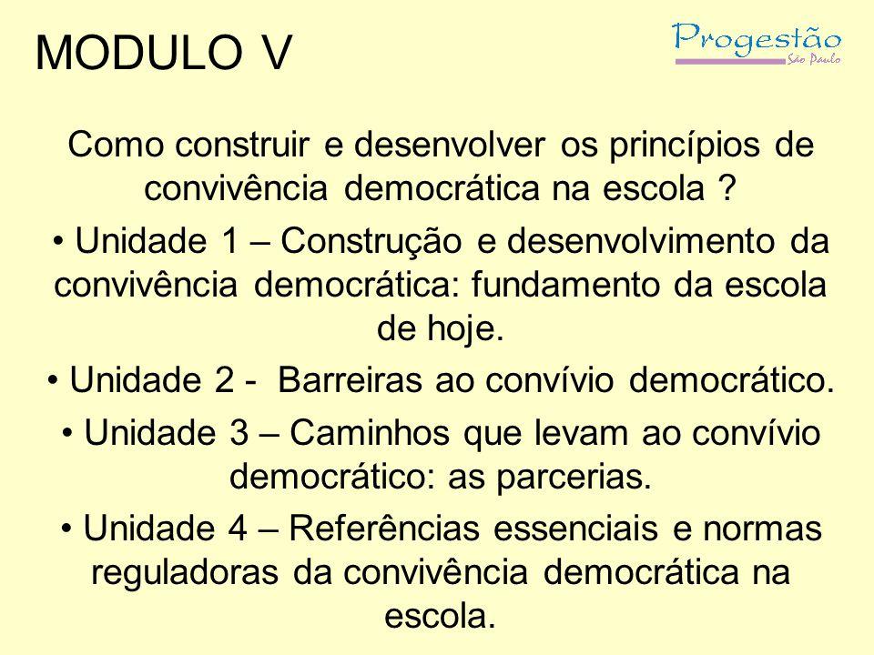 MODULO V Como construir e desenvolver os princípios de convivência democrática na escola ? Unidade 1 – Construção e desenvolvimento da convivência dem